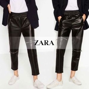 Zara faux leather joggers sz L